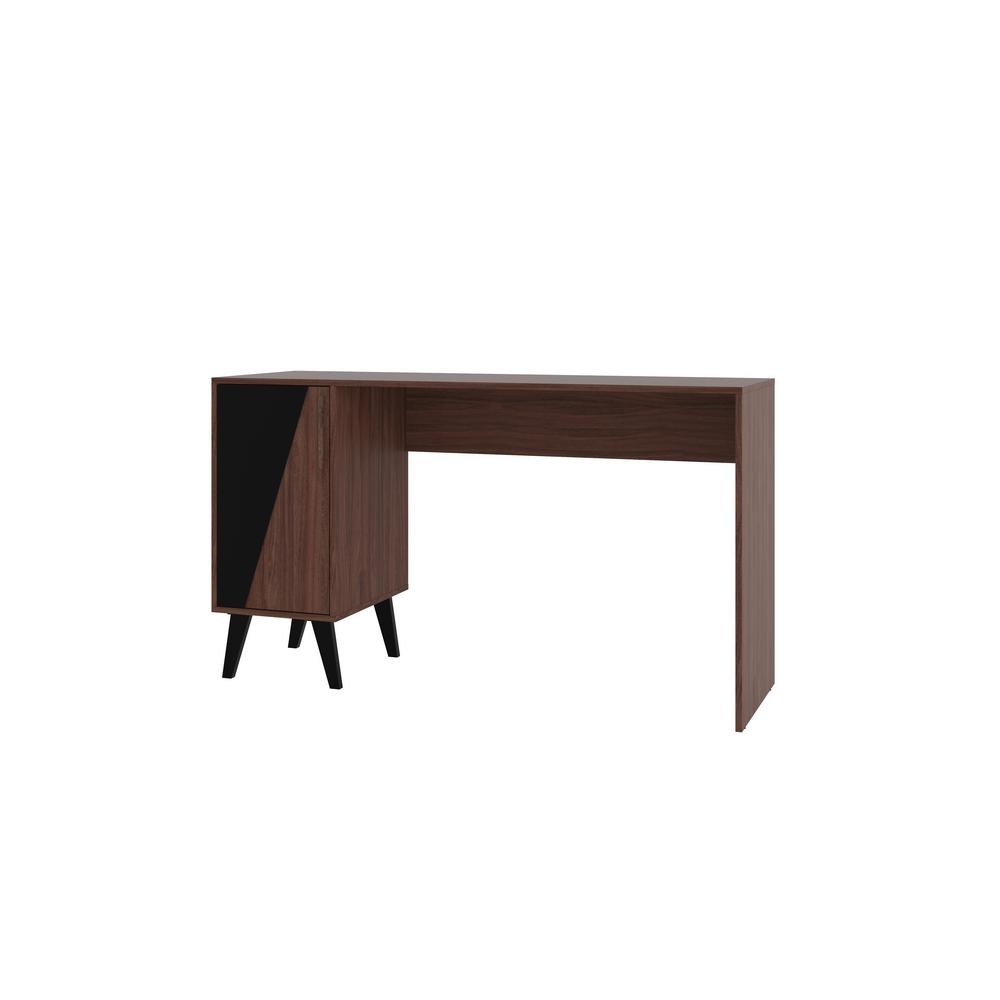 Manhattan Comfort Hogan Mid Century Dark Brown 2 Shelves Office Desk
