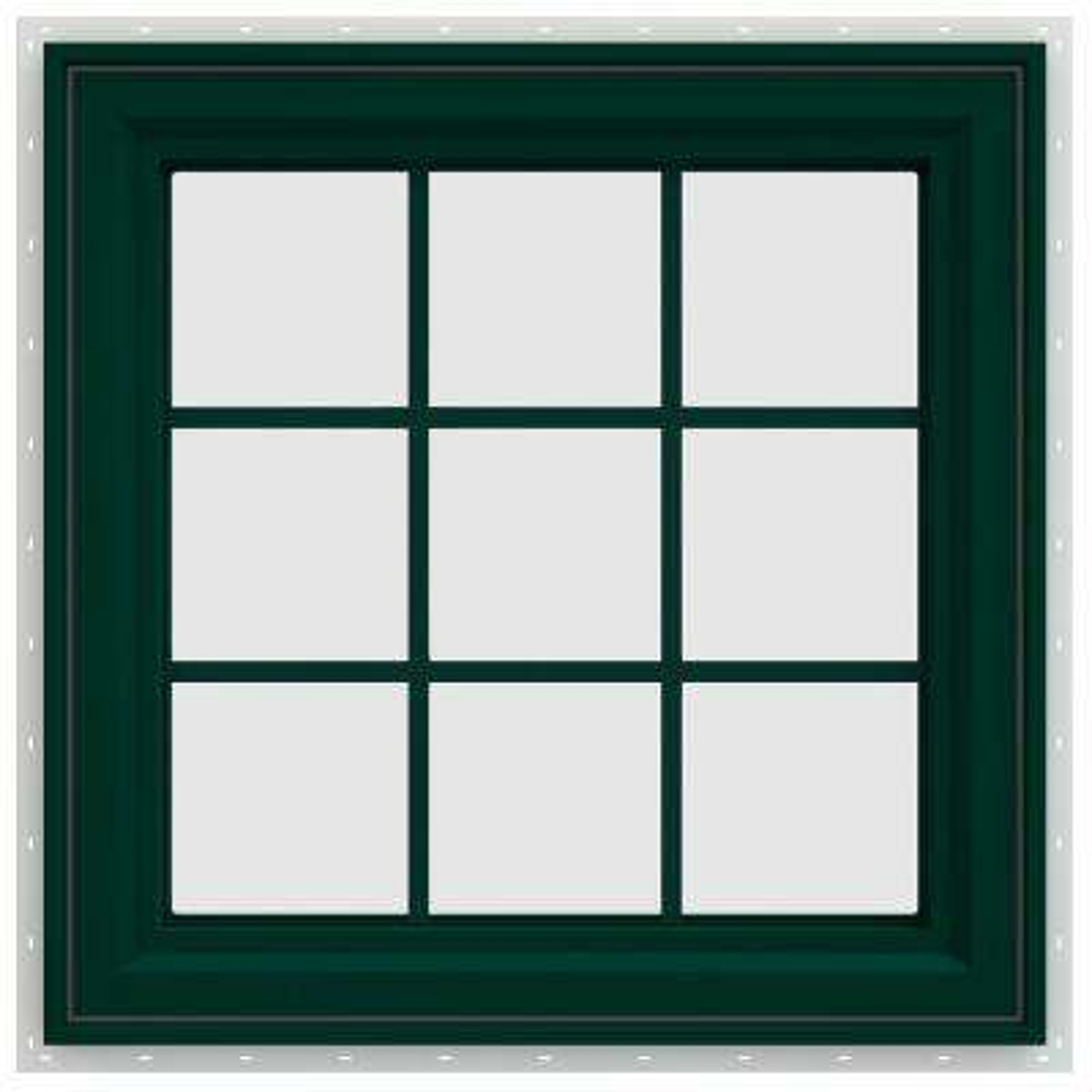 29.5 in. x 29.5 in. V-4500 Series Left-Hand Casement Vinyl Window with Grids - Green