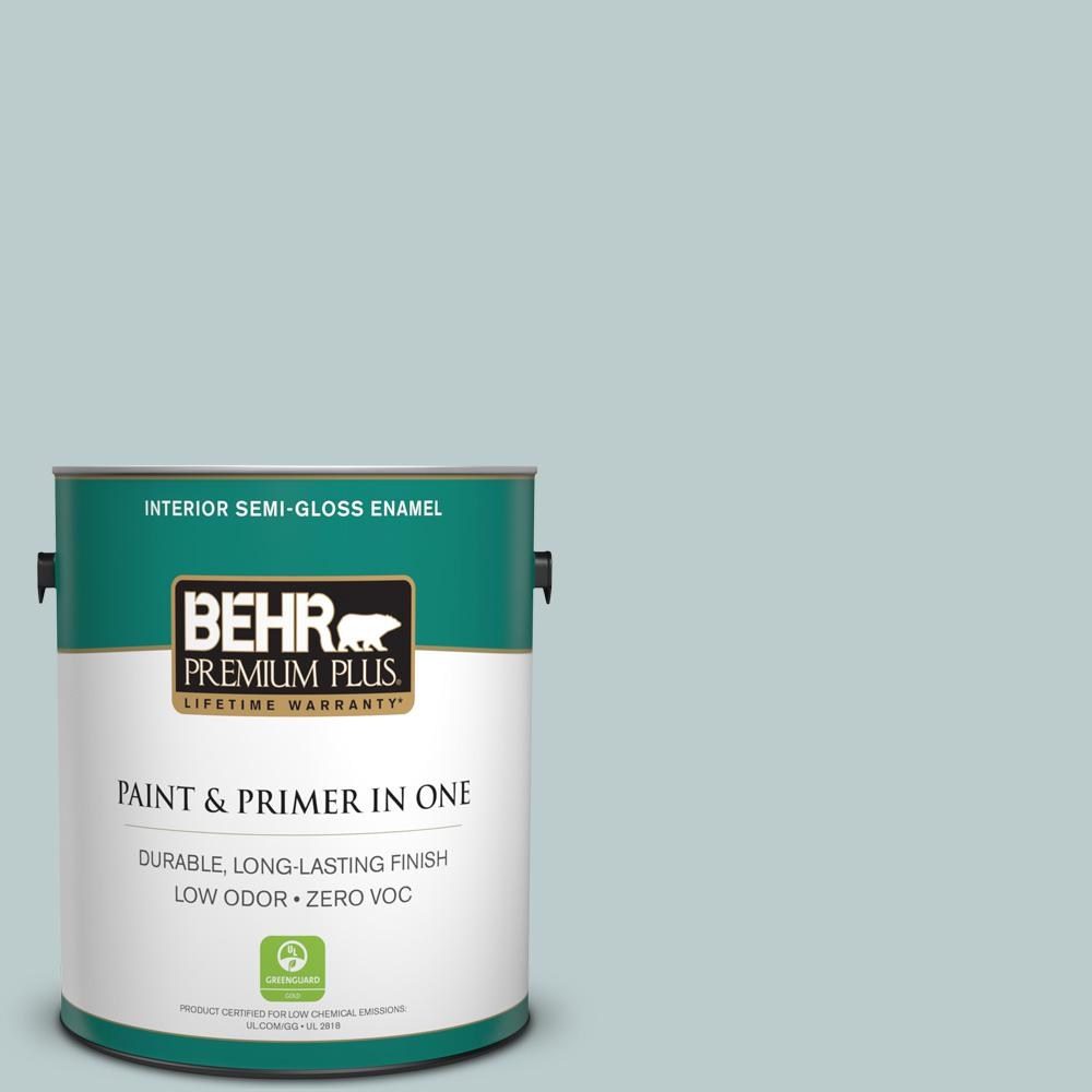 BEHR Premium Plus 1-gal. #N440-2 Urban Raincoat Semi-Gloss Enamel Interior Paint
