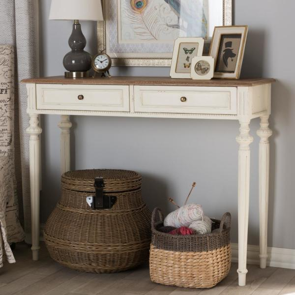 Baxton Studio Marquetterie French Provincial White Finished Wood Console Table 28862 7189 Hd The Home Depot