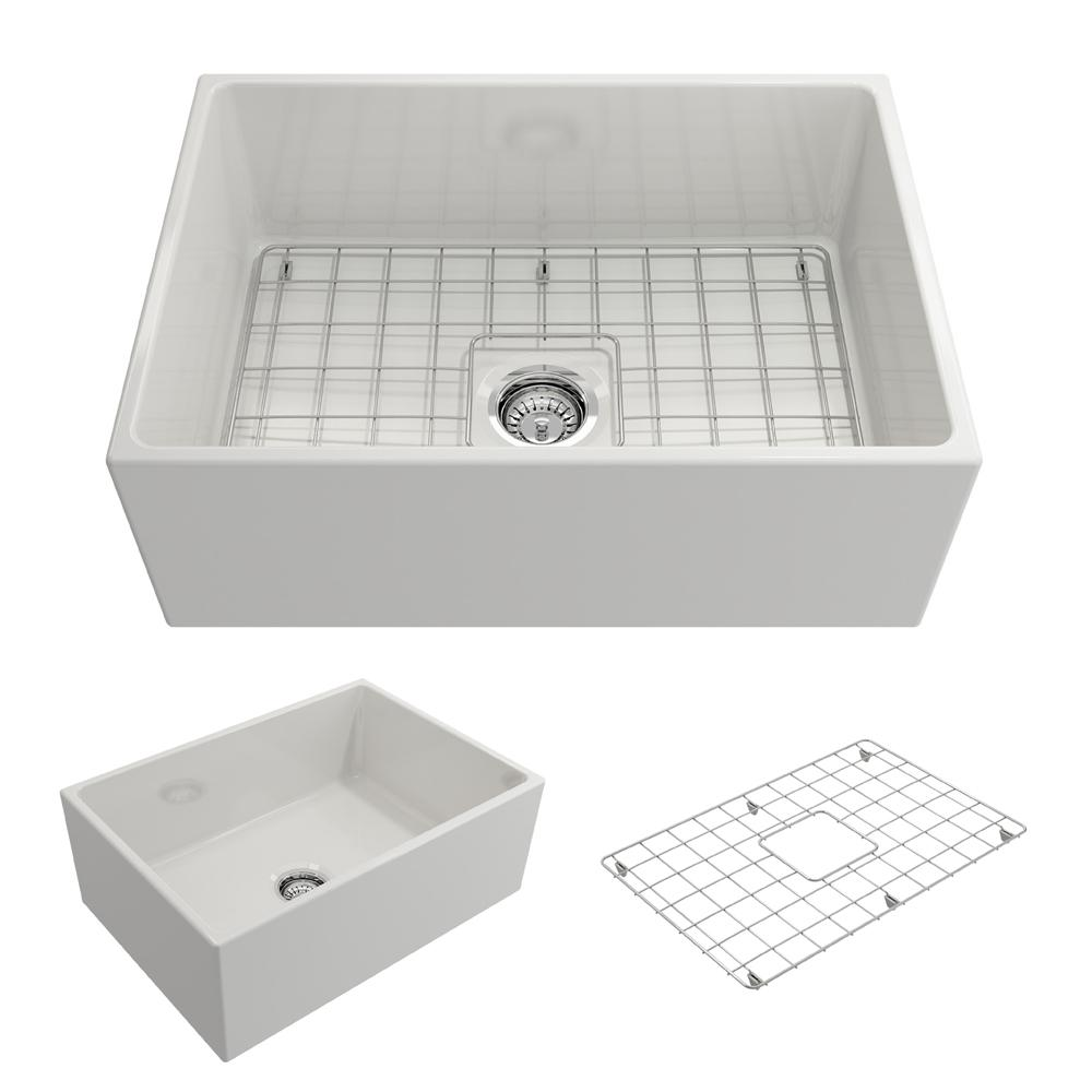 BOCCHI Contempo Farmhouse Apron Front Fireclay 27 in. Single Bowl Kitchen Sink with Bottom Grid and Strainer in White