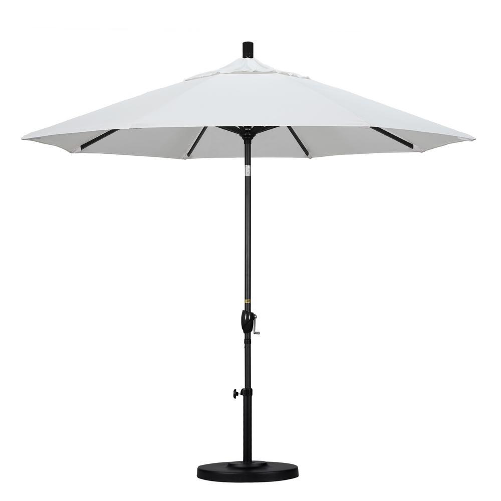 07f1213833cee California Umbrella 9 ft. Black Aluminum Pole Market Aluminum Ribs Push  Tilt Crank Lift Patio
