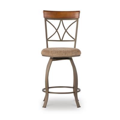 Masson 24 in. Cherry/Pewter/Bronze Swivel Counter Stool