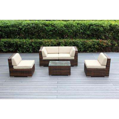 Ohana Mixed Brown 5-Piece Wicker Patio Seating Set with Spuncrylic Beige Cushions