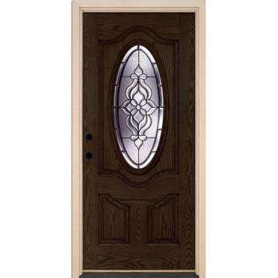 37.5 in. x 81.625 in. Lakewood Patina 3/4 Oval Lite Stained Walnut Oak Right-Hand Inswing Fiberglass Prehung Front Door