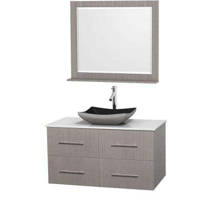 Centra 42 in. Vanity in Gray Oak with Solid-Surface Vanity Top in White, Black Granite Sink and 36 in. Mirror