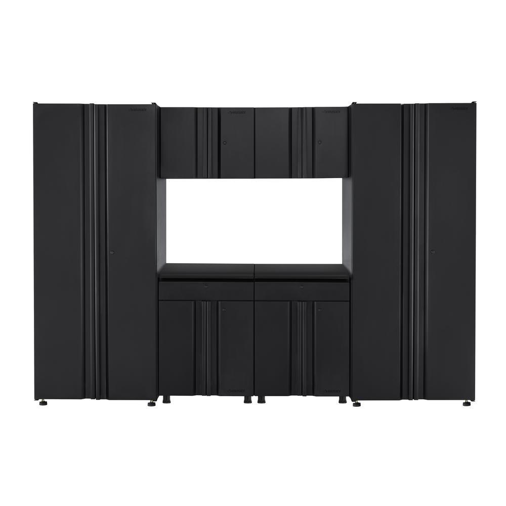 Husky Welded 109 in. W x 75 in. H x 19 in. D Steel Garage Cabinet Set in Black (6-Piece)