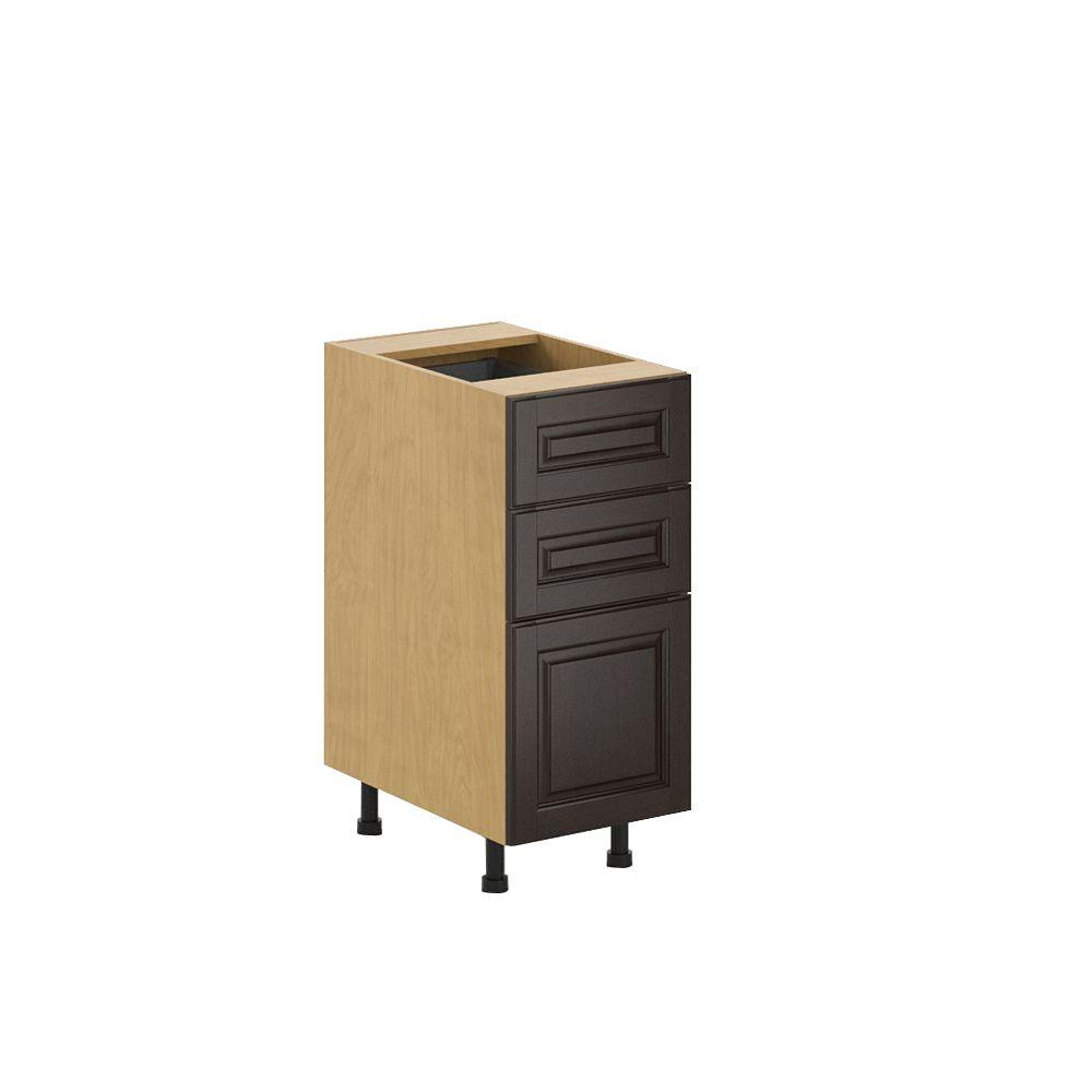 Ready to Assemble 15x34.5x24.5 in. Naples 3-Drawer Base Cabinet in Maple