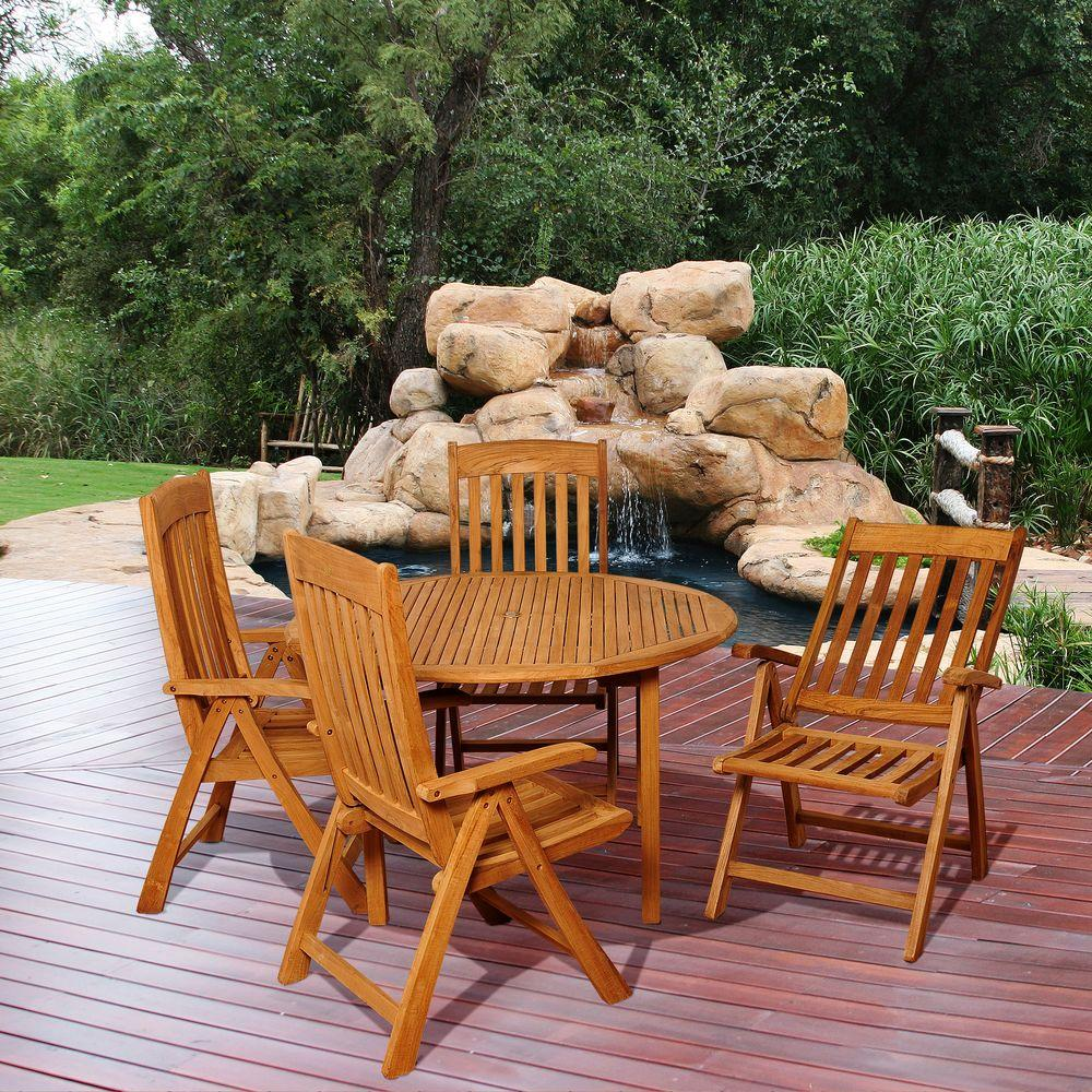 Amazonia holgan 5 piece teak round patio dining set sc malrnd 4sumpos the home depot Home depot teak patio furniture