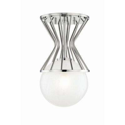 Petra 1-Light Polished Nickel Semi-Flushmount with Clear Crackel Glass Shade