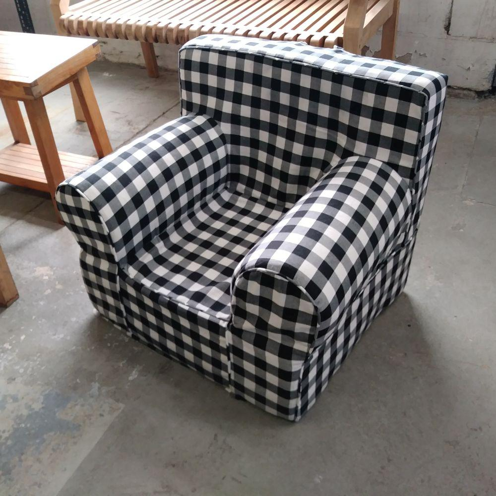 Prime Pdc Furniture Oversize Kids Foam Chair With Black Gingham Evergreenethics Interior Chair Design Evergreenethicsorg