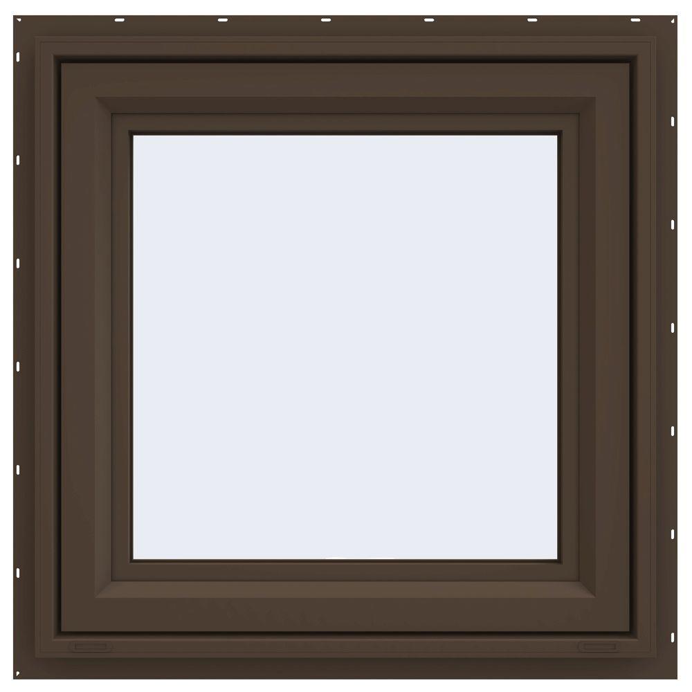 JELD-WEN 23.5 in. x 23.5 in. V-4500 Series Awning Vinyl Window - Brown