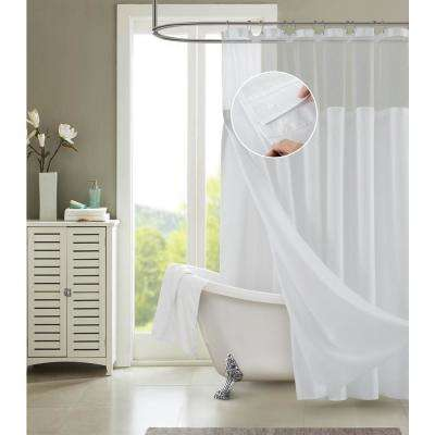 Hotel Complete Waffle 72 in. x 72 in. Silver Grey  Shower Curtain with Snap On/Off Waterproof Detachable Liner Set