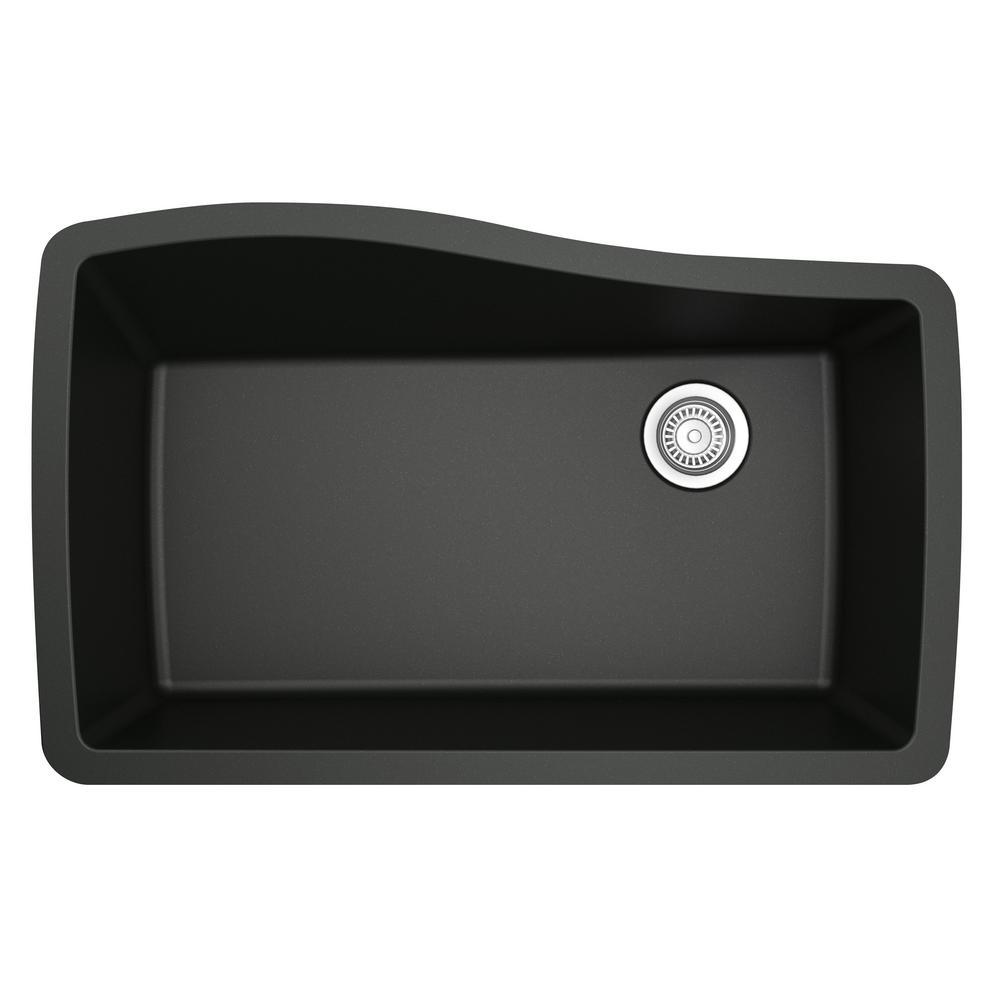 Undermount Quartz Composite 33 in. Single Bowl Kitchen Sink in Black