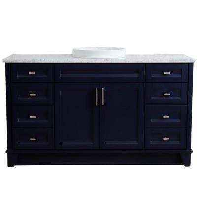 61 in. W x 22 in. D Single Bath Vanity in Blue with Marble Vanity Top in White Carrara with White Round Basin