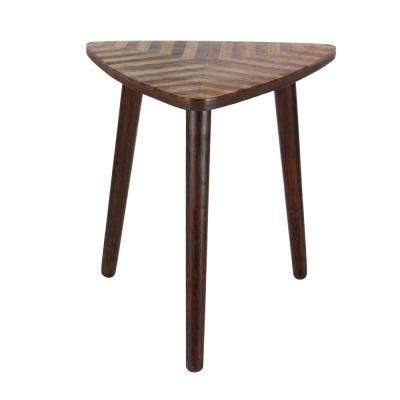 Wooden Chevron Patterned Triangle Accent Table