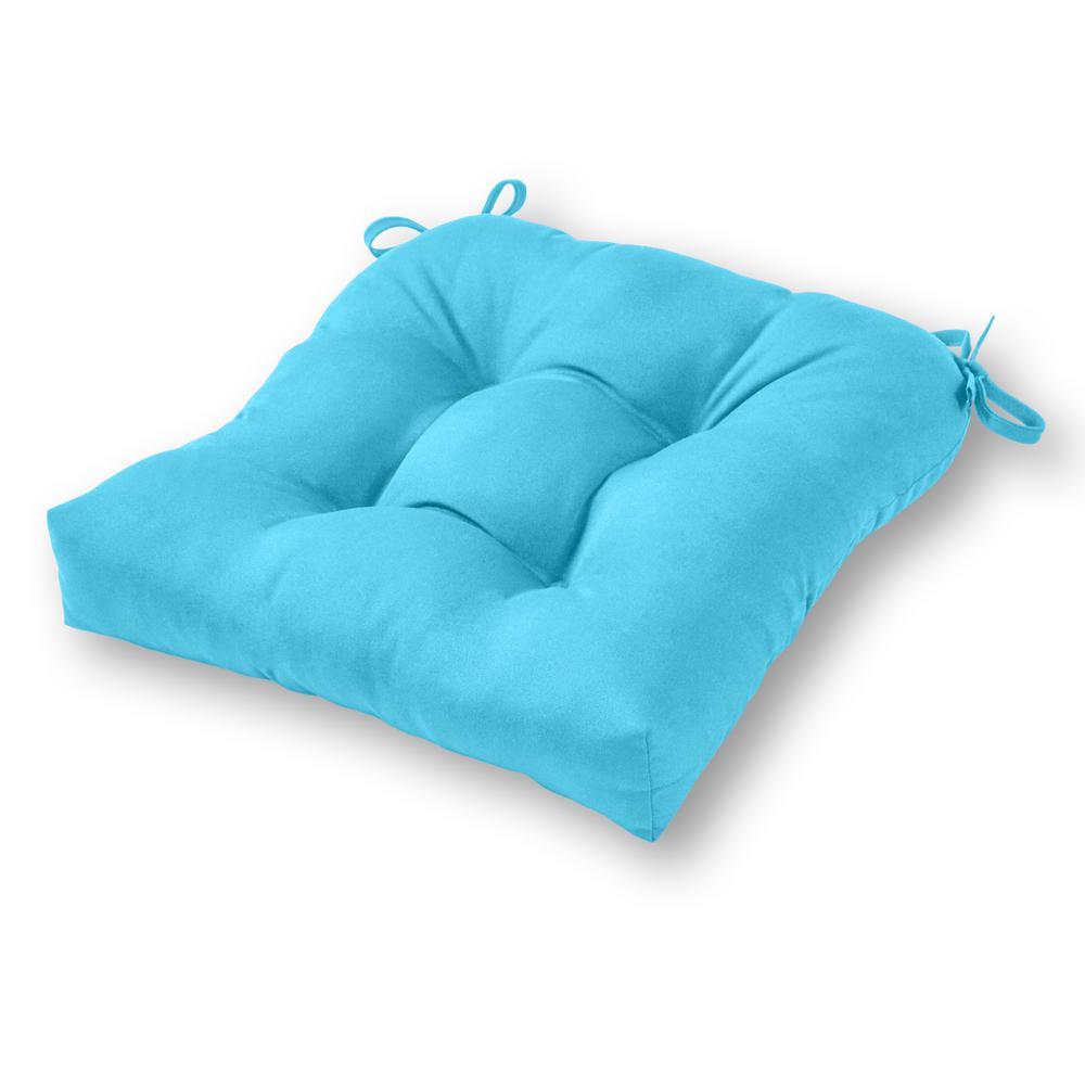 Greendale Home Fashions Solid Aruba Blue Sunbrella Fabric Square Tufted  Outdoor Seat Cushion