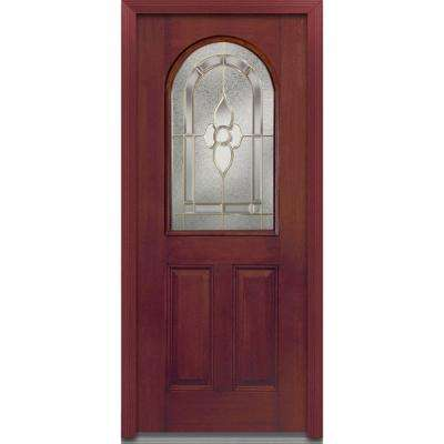 36 in. x 80 in. Master Nouveau Right-Hand Inswing 1/2-Lite Decorative Stained Fiberglass Mahogany Prehung Front Door