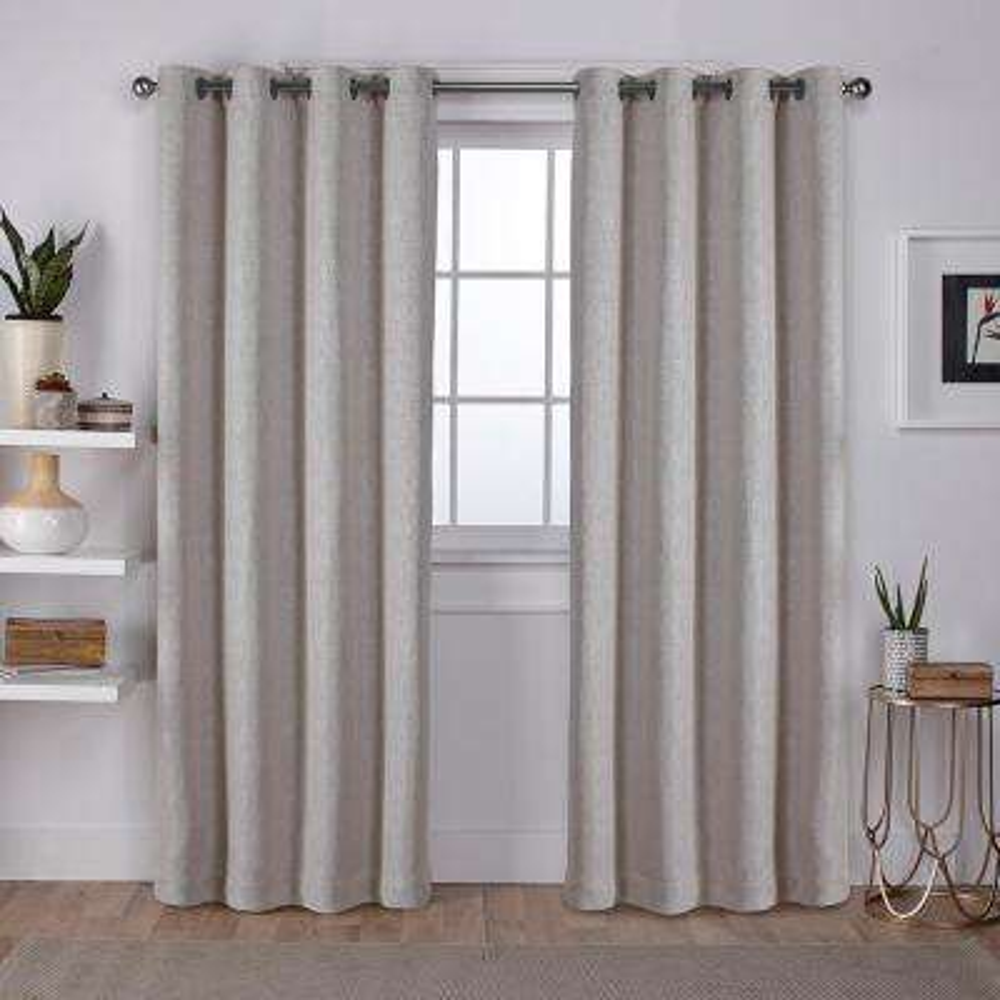 Vesta Sand Heavyweight Textured Linen Blackout Grommet Top Window Curtain