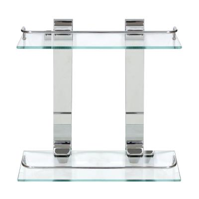 13.75 in. x 13.5 in. x 5 in. Double Glass Wall Shelf with Pre-Installed Rails in Polished Chrome
