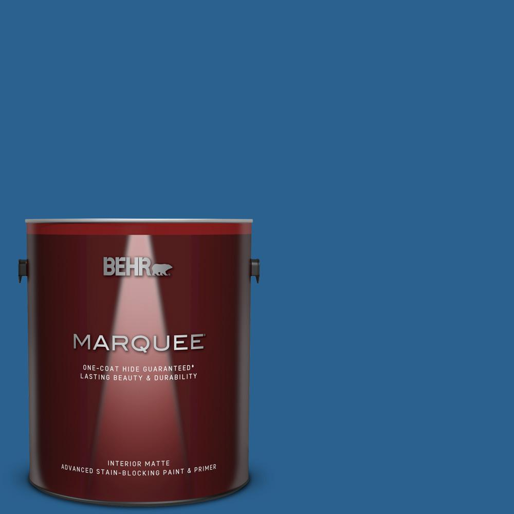 Behr Marquee 1 Gal Mq5 57 Traditional Blue One Coat Hide Matte Interior Paint And Primer In One