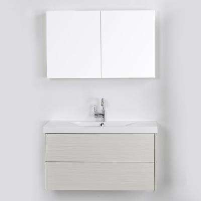 39.4 in. W x 19.4 in. H Bath Vanity in Gray with Resin Vanity Top in White with White Basin and Mirror