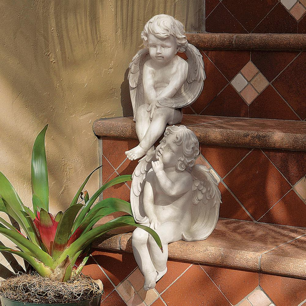 Design Toscano Angels Of Meditation And Contemplation Sculpture Set 2 Piece Je9101261 The Home Depot