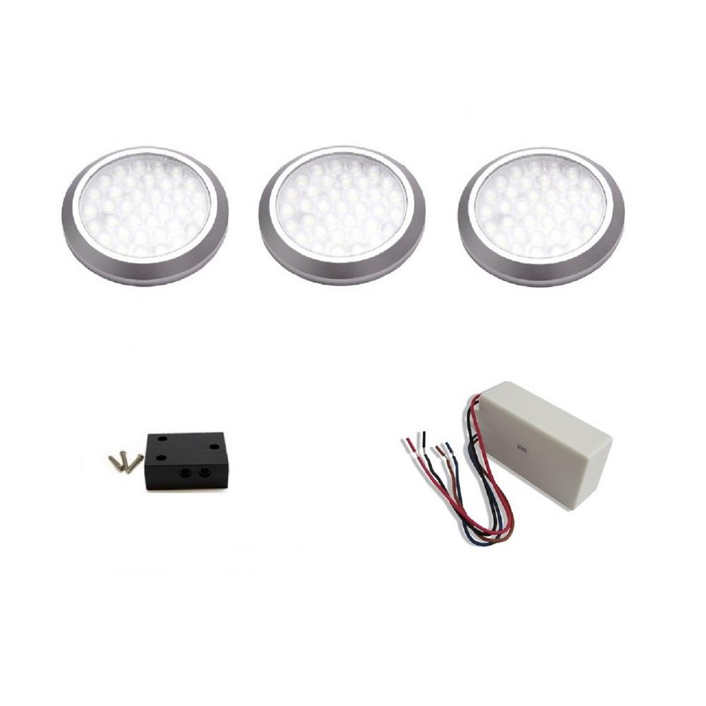Favorite Monkey Led Under Cabinet Hard Wired Dimmable Low Profile Puck Light Kit 3 Pack