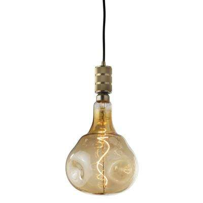 1-Light Industrial Warm Gold Pendant Socket and Canopy with LED 4-Watt ORB Shaped Grand Nostalgic Light Bulb