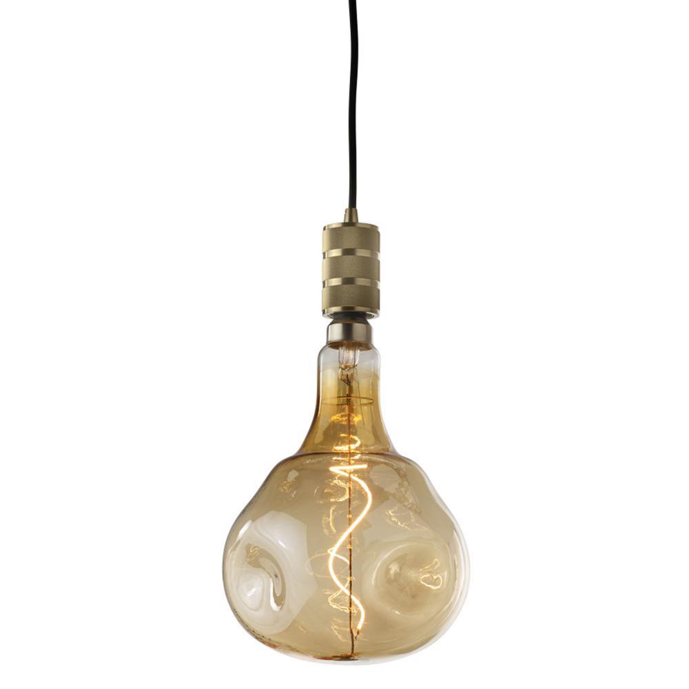 1-Light Industrial Warm Gold Pendant Socket and Canopy with LED 4-Watt ORB Shaped Grand Nostalgic Light Bulb