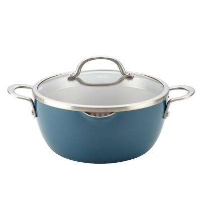 Home Collection 5.5 Qt. Porcelain Enamel Nonstick Covered Straining Casserole in Twilight Teal