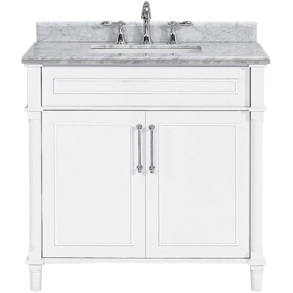 Aberdeen 36 in. W x 22 in. D Single Bath Vanity in White with Carrara Marble Top with White Sink