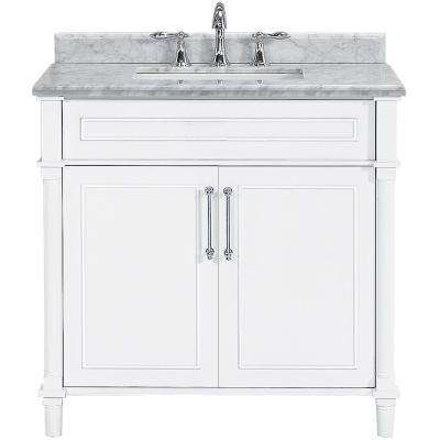 Aberdeen 36 in. W x 22 in. D Single Bath Vanity in White with Carrara Marble Top with White Basin
