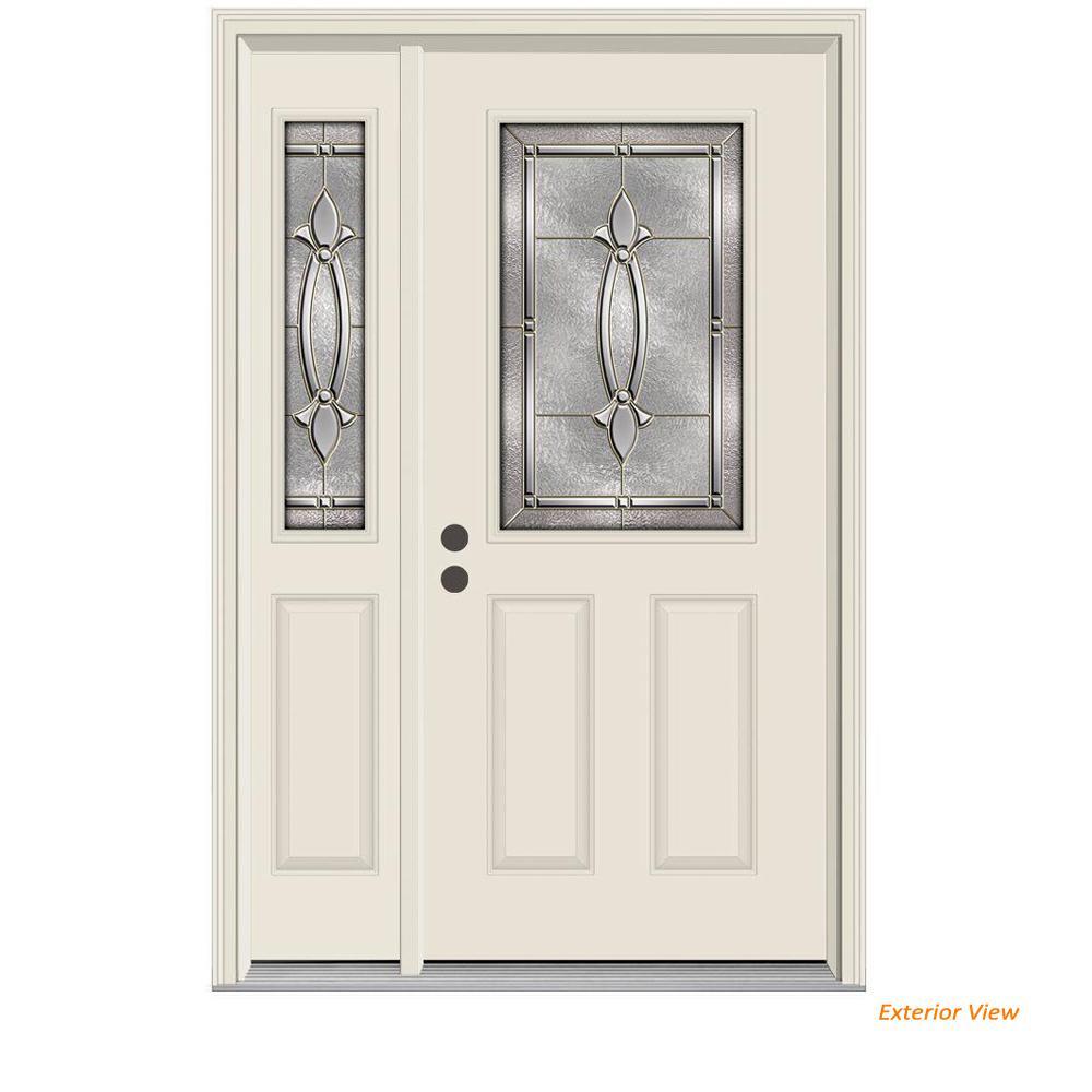 Jeld Wen 52 In X 80 In 1 2 Lite Blakely Primed Steel Prehung Right Hand Inswing Front Door With Left Hand Sidelite 831861 The Home Depot