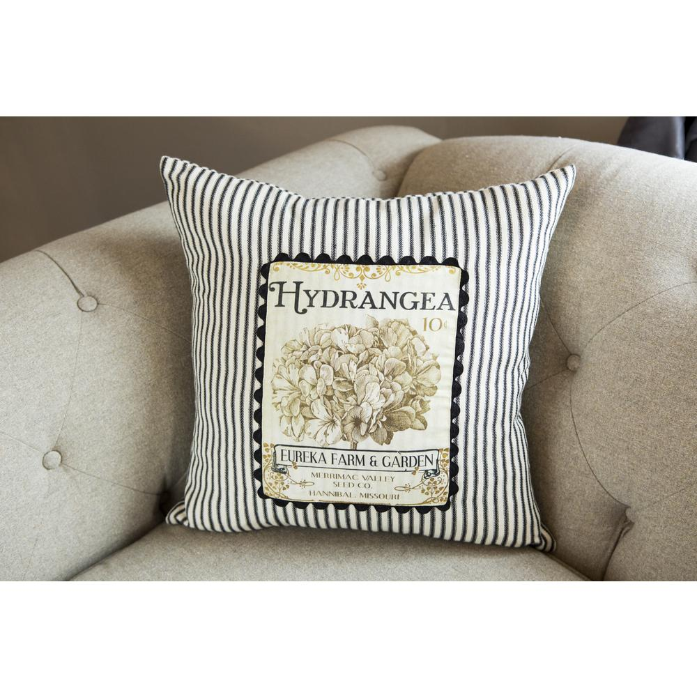 Heritage Lace Hydrangea Black/Cream Decorative Pillow-VG-012 - The Home Depot
