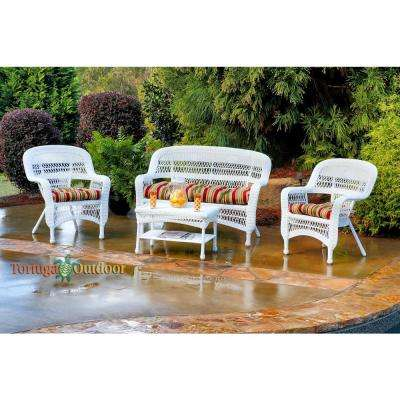 Portside White 4-Piece Wicker Patio Seating Set with Eastbay Pompeii Cushions