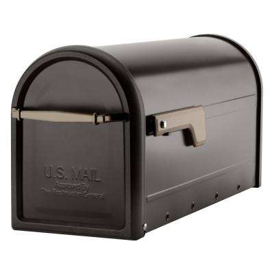 Chadwick Post Mount Mailbox Rubbed Bronze with Champagne Gold Flag