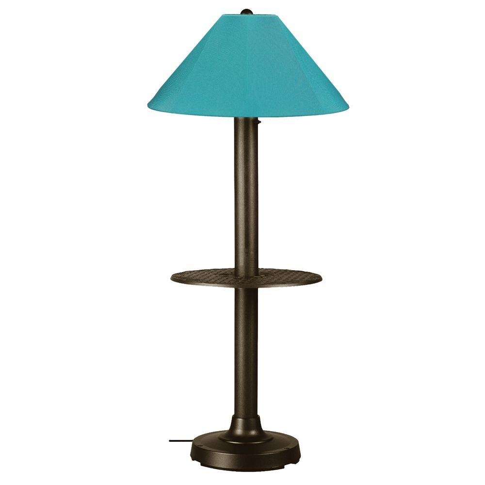 Patio Living Concepts Catalina 63.5 in. Bronze Outdoor Floor Lamp with Tray Table and Aruba Shade