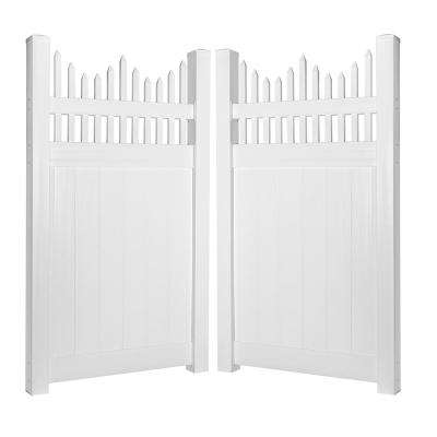 Louisville 7.4 ft. W x 5 ft. H White Vinyl Privacy Double Fence Gate