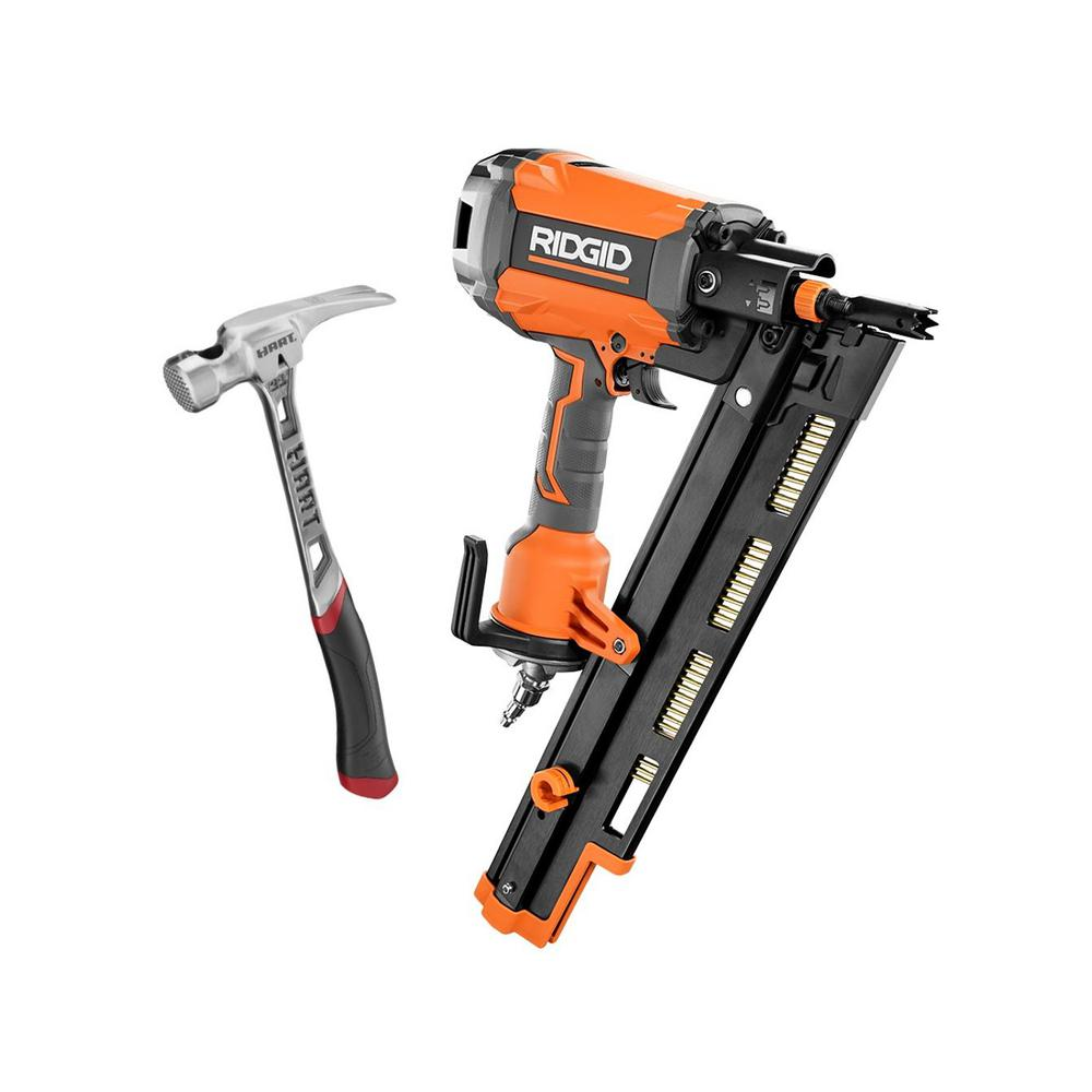 21° 3-1/2 in. Round-Head Framing Nailer and 21 oz. Milled Faced