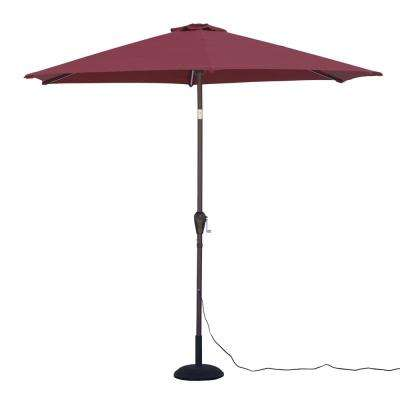 9 ft. Round Tilting Patio Umbrella with Warm LED Lights in Red
