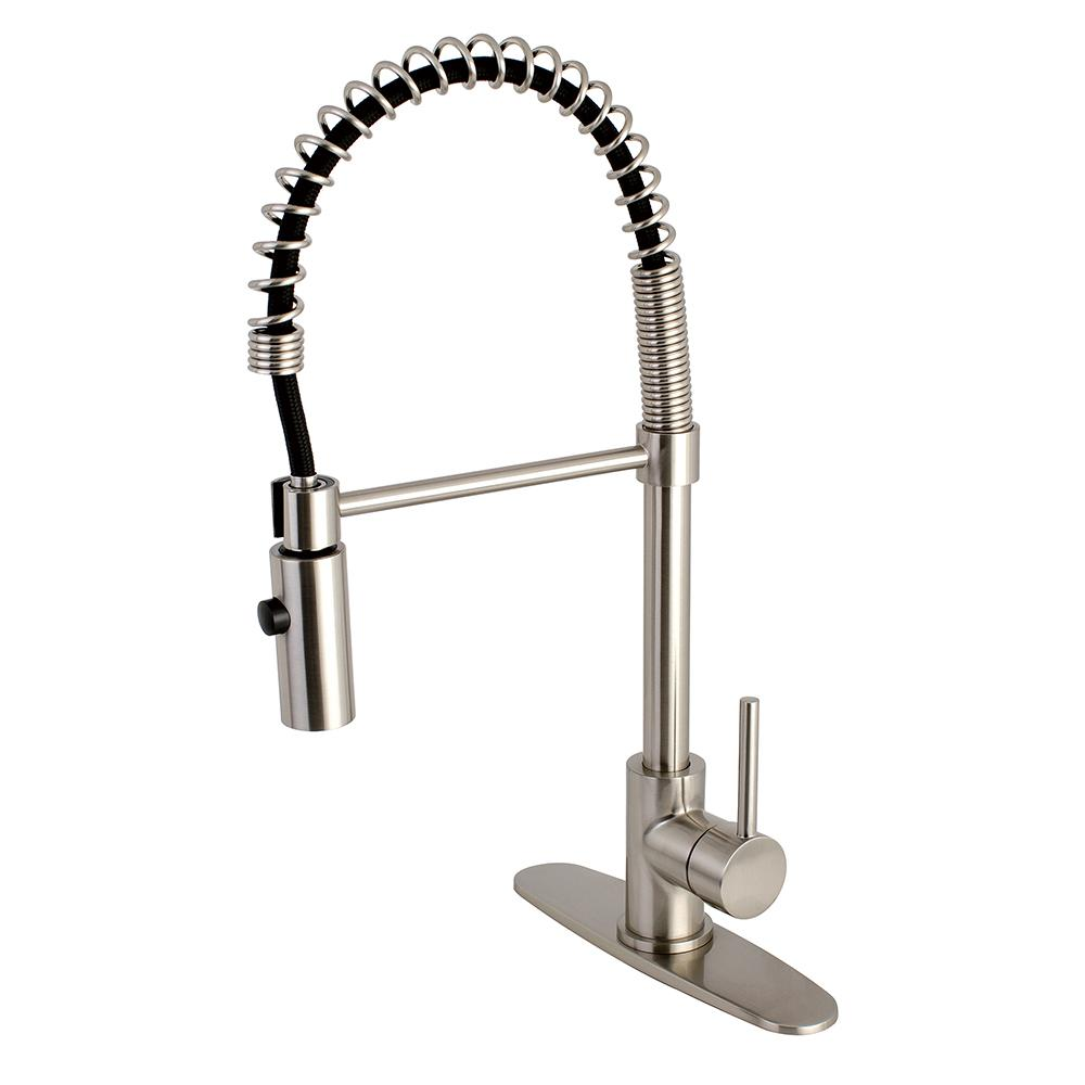 Contemporary Single Handle Pull Down Sprayer Kitchen Faucet In Satin Nickel