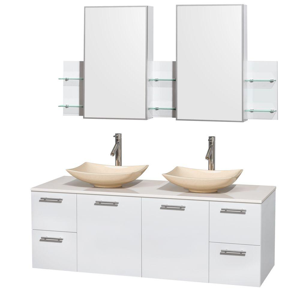 Wyndham Collection Amare 60 in. Double Vanity in Glossy White with Solid-Surface Vanity Top in White, Marble Sinks and Medicine Cabinet