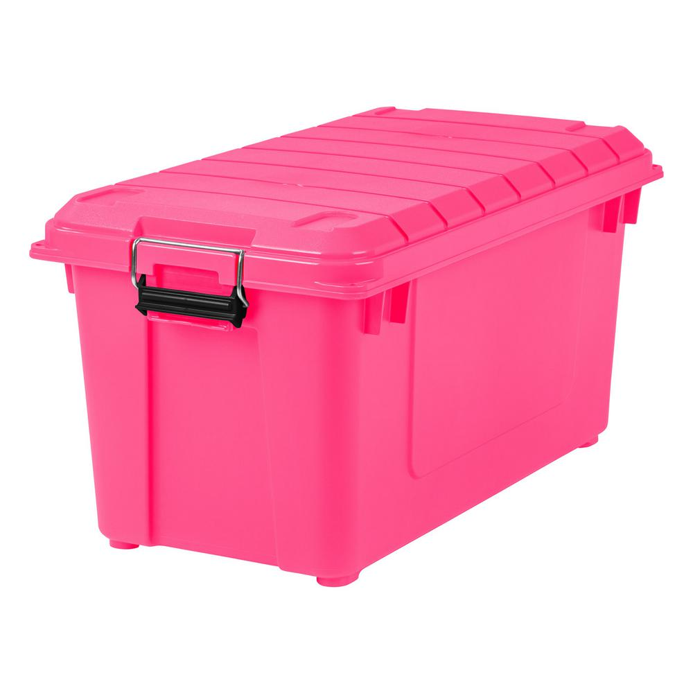 IRIS 82 Qt Weathertight Store It All Storage Bin in Pink 4 Pack