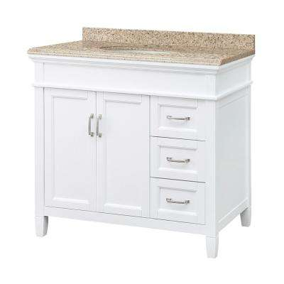 Ashburn 37 in. W x 22 in. D Vanity in White with Granite Vanity Top in Beige with White Sink