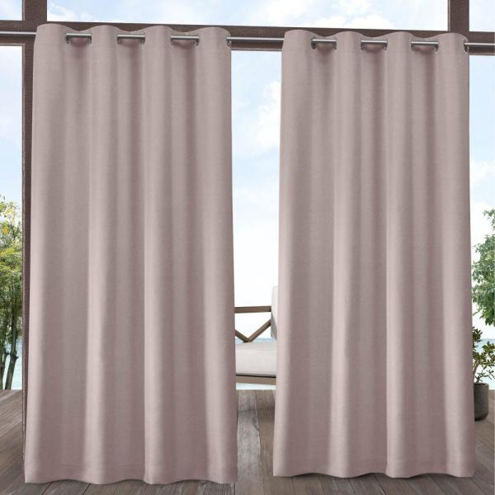 Biscayne 54 in. W x 84 in. L Indoor Outdoor Grommet Top Curtain Panel in Blush (2 Panels)
