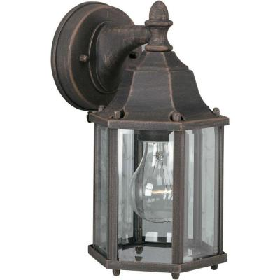 1-Light Outdoor Painted Rust Wall Lantern Sconce with Clear Beveled Glass Panels