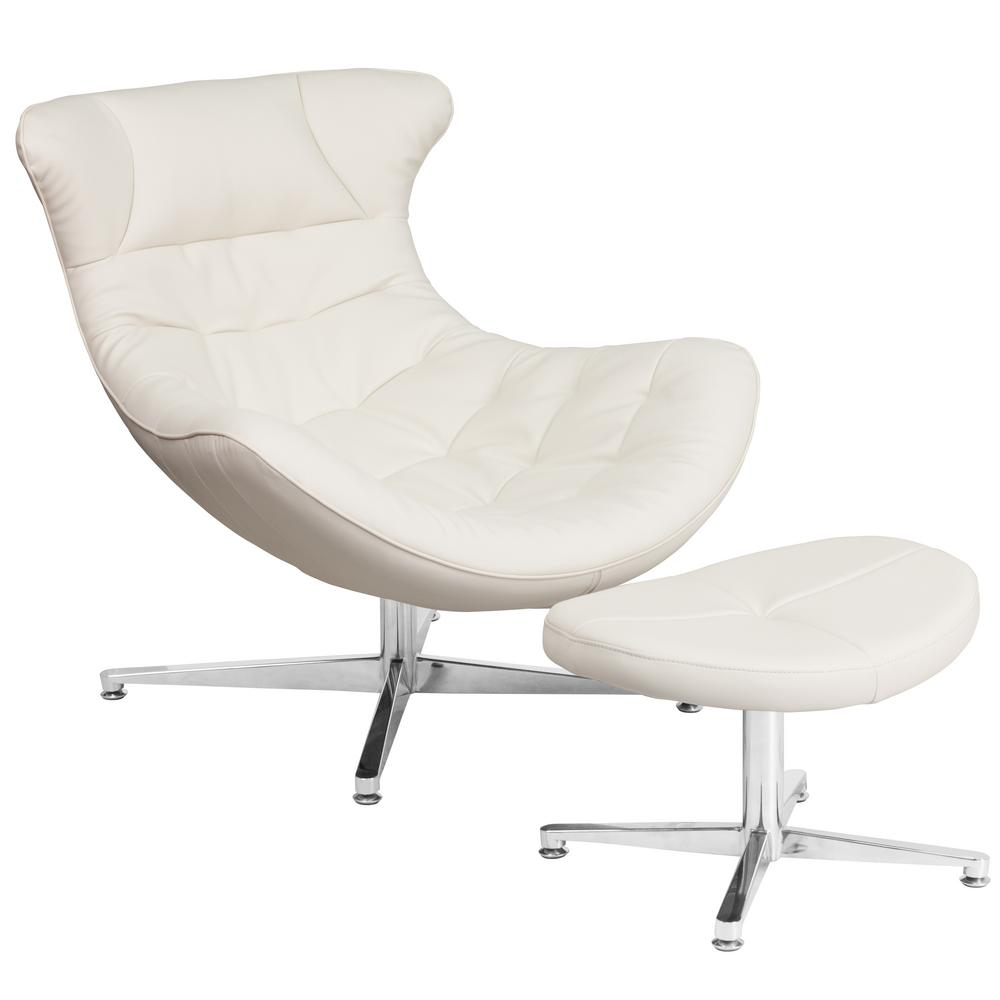 Flash Furniture White Leather Cocoon Chair With Ottoman