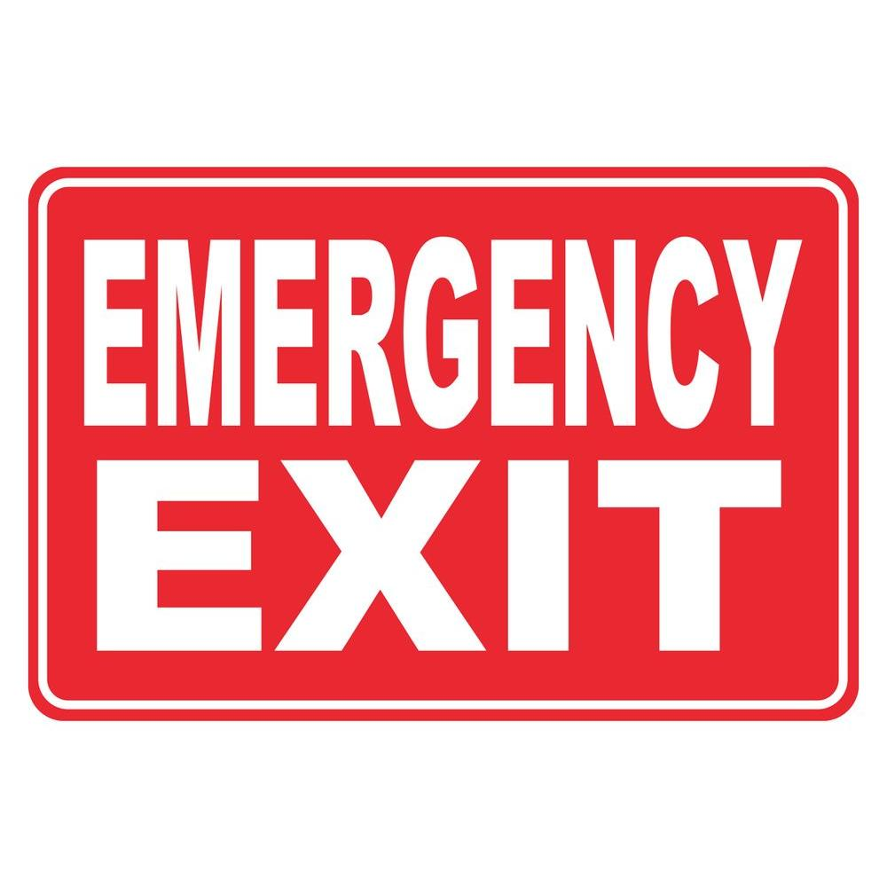 12 in. x 8 in. Plastic Red Emergency Exit Egress Sign