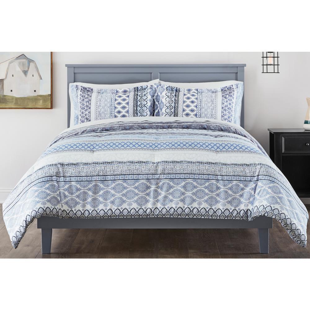 Nadira 3-Piece Stone Gray Stripe Full/Queen Comforter Set